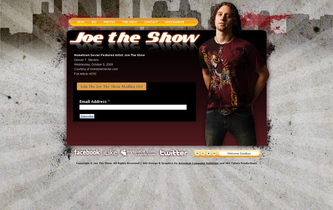 Joe The Show Website Design